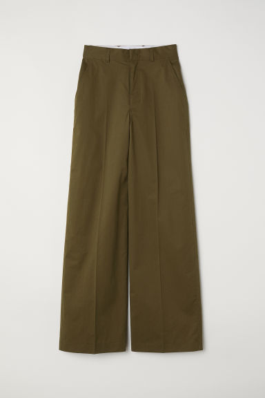 Wide trousers - Khaki green -  | H&M CN