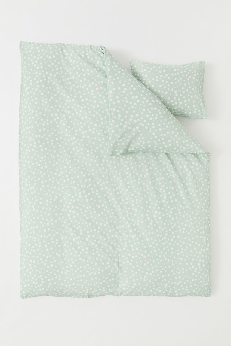 Patterned duvet cover set - Mint green/Spotted - Home All | H&M CN