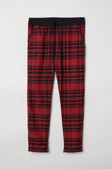 Twill joggers - Red/Checked -  | H&M