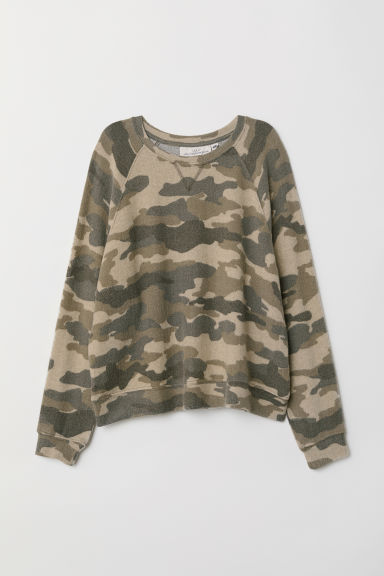 Fine-knit top - Khaki green/Patterned - Ladies | H&M