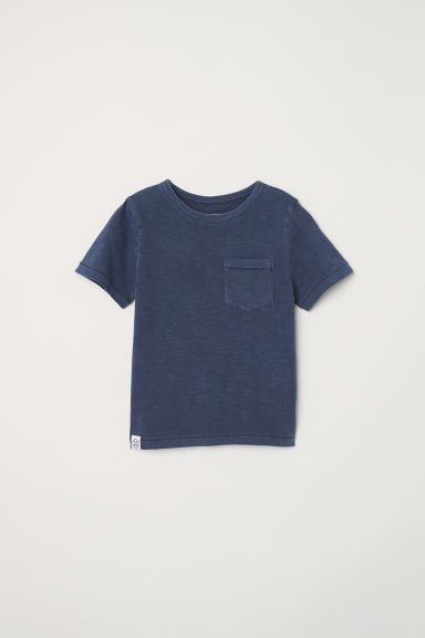 T-shirt with a chest pocket - Dark blue - Kids | H&M CN