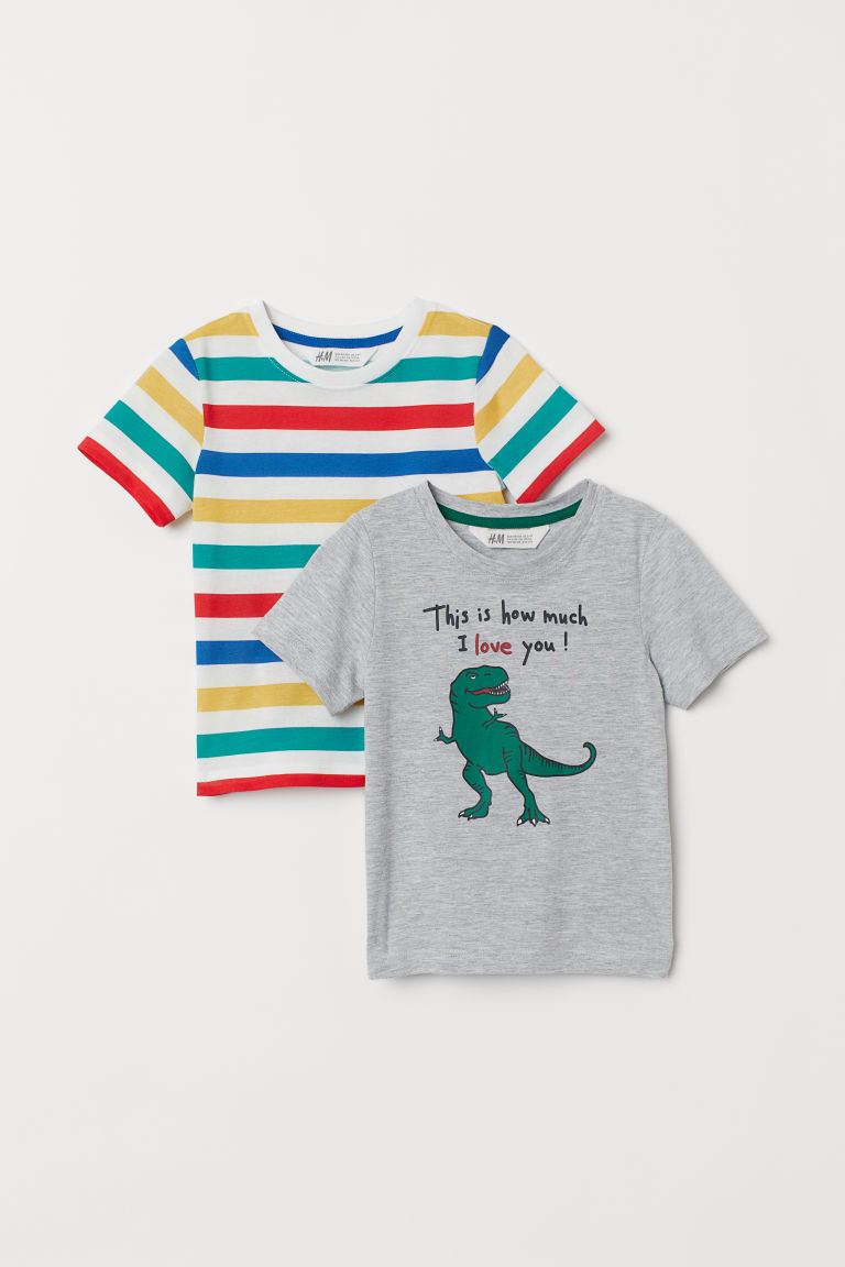 2-pack T-shirts - Grey marl/Dinosaur - Kids | H&M GB