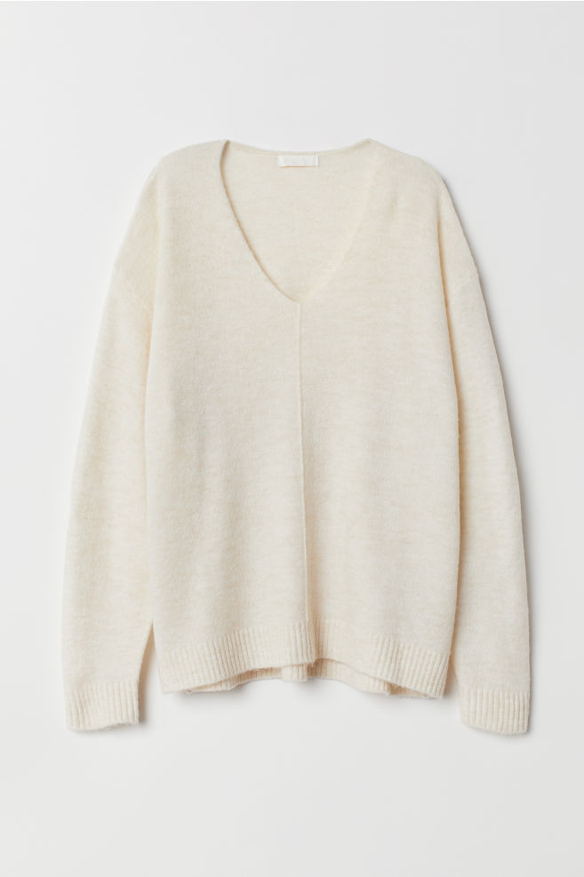 6cc911f4e666 Fine-knit Sweater - Natural white - Ladies | H&M ...
