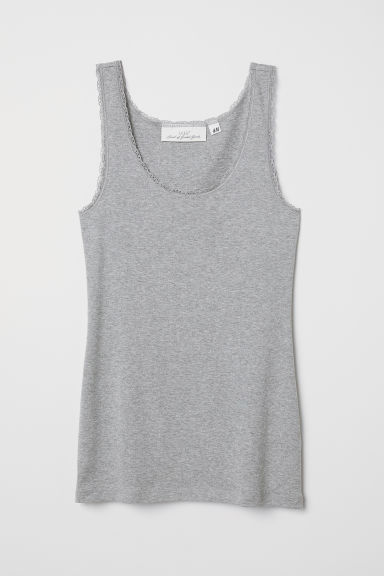 Vest top with lace trims - Grey marl - Ladies | H&M CN