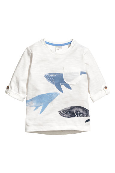 Long-sleeved jersey top - White/Whales -  | H&M CN