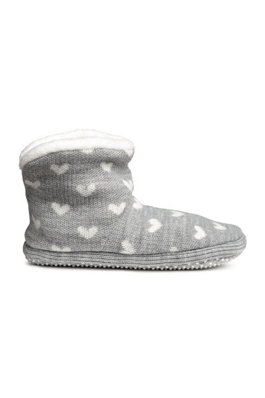 Knitted slippers - Grey/Hearts -  | H&M