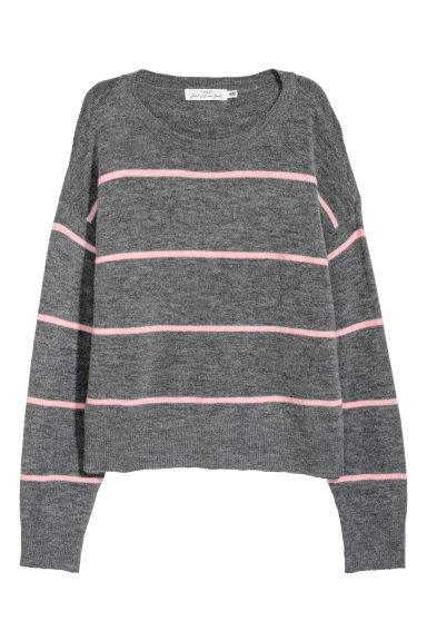 Knitted jumper - Grey/Striped -  | H&M