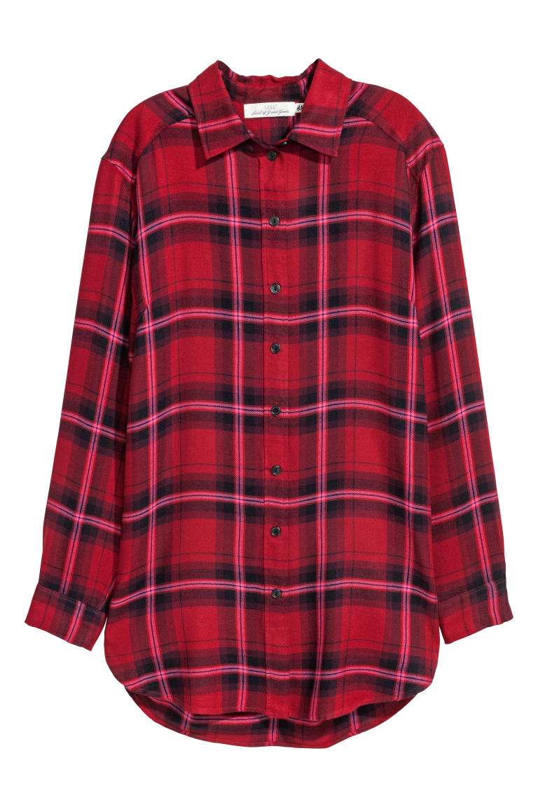 Long Flannel Shirt - Red/plaid - Ladies | H&M CA