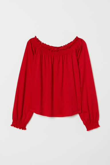 Off-the-shoulder blouse - Red - Ladies | H&M