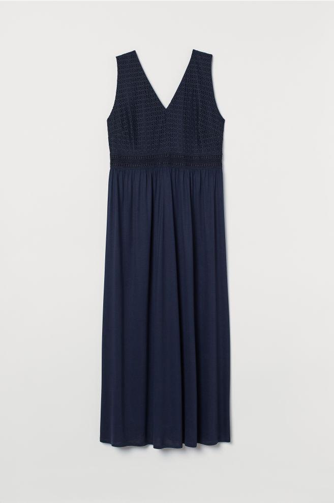 7fcd0149af H&M+ V-neck maxi dress - Dark blue - Ladies | H&M ...