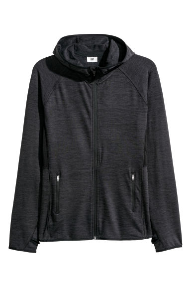 H&M+ Fleece outdoorvest - Zwart gemêleerd -  | H&M BE