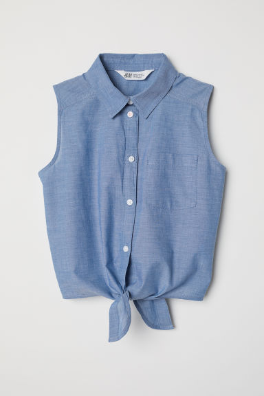 Sleeveless tie-front blouse - Blue - Kids | H&M