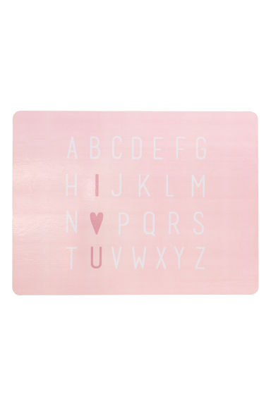 Printed table mat - Light pink/Aphabet - Home All | H&M GB