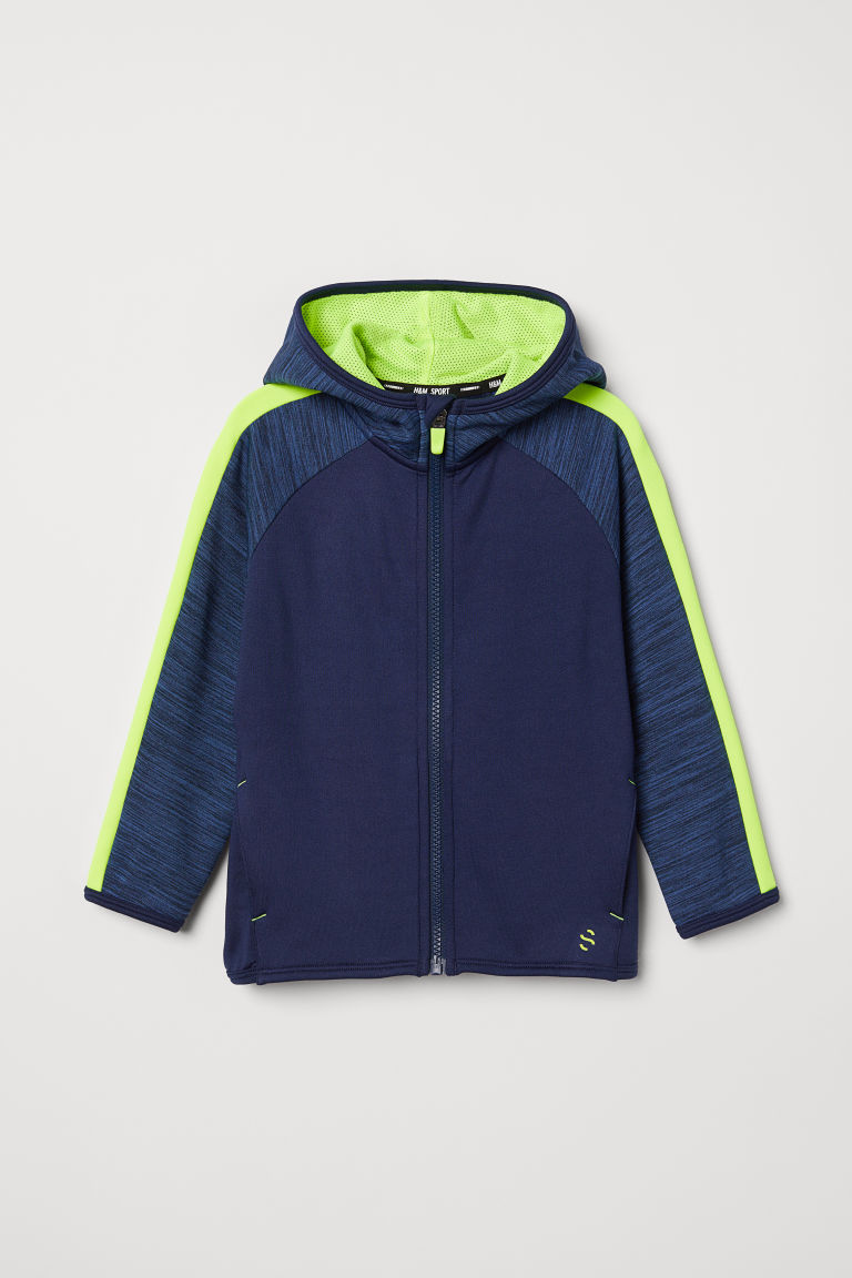 Hooded sports jacket - Dark blue/Neon yellow -  | H&M CN
