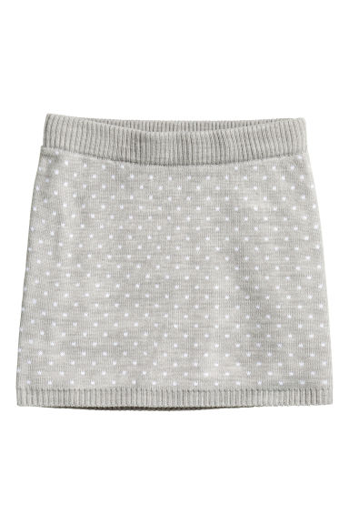 Jacquard-knit skirt - Light grey/Spotted - Kids | H&M CN