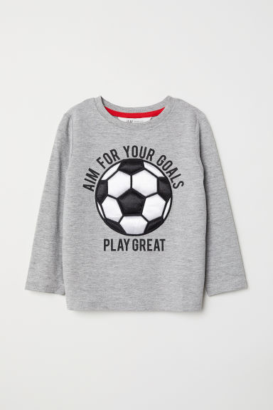 Top with a motif - Light grey marl/Football - Kids | H&M GB