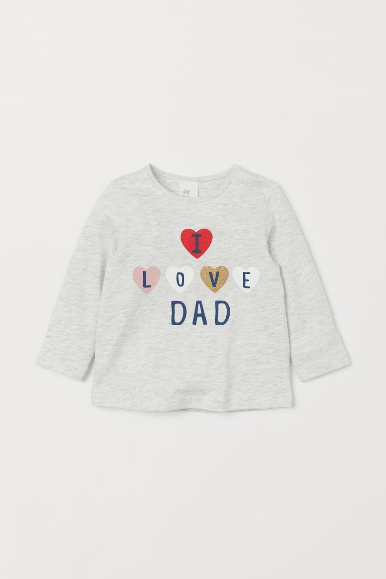 pentru întreaga familie bun cea mai buna calitate Bluză cu imprimeu - Gri-deschis melanj/I love Dad - COPII | H&M RO