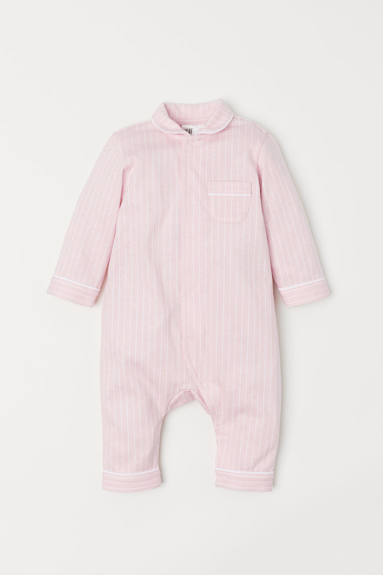 All-in-one pyjamas - Light pink/White striped - Kids | H&M CN