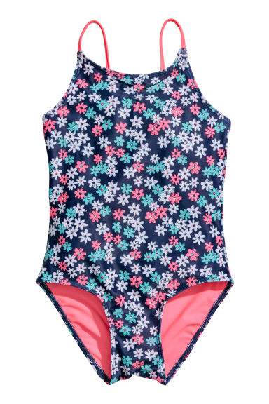 Patterned swimsuit - Dark blue/Floral -  | H&M