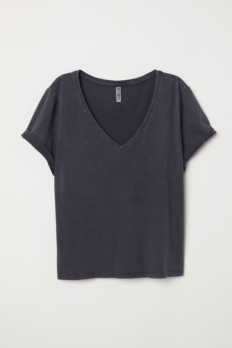 T-shirt con scollo a V - Grigio scuro - DONNA | H&M IT