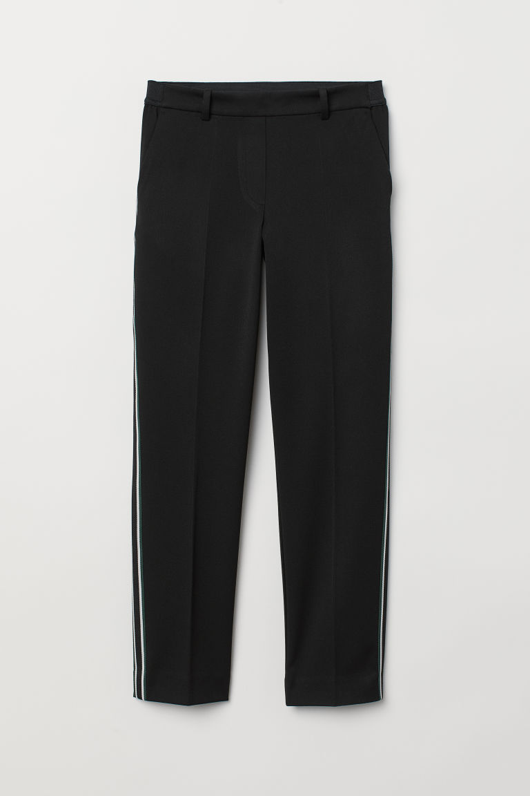 Pull-on cigarette trousers - Black/Side stripes - Ladies | H&M CN