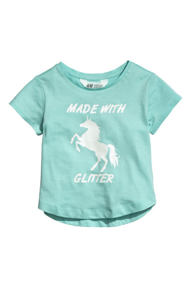 Trikåtopp med tryck - Turkos/Made with glitter -  | H&M SE