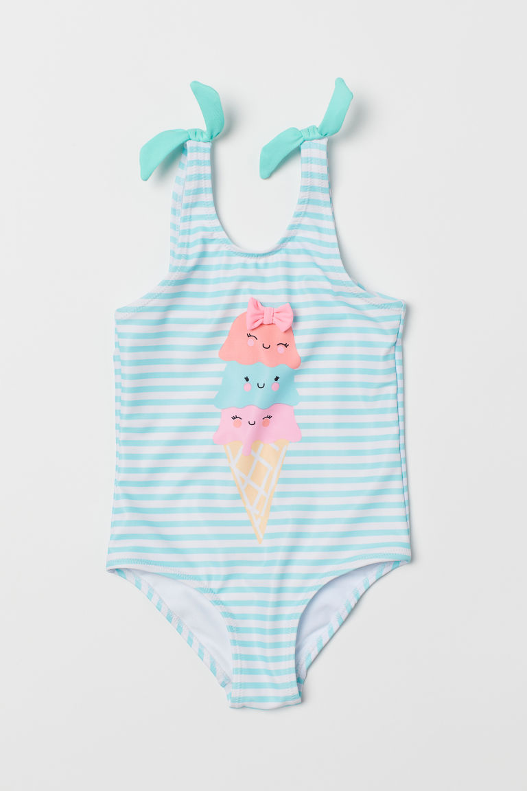 Printed swimsuit - Light turquoise/Ice cream -  | H&M CN