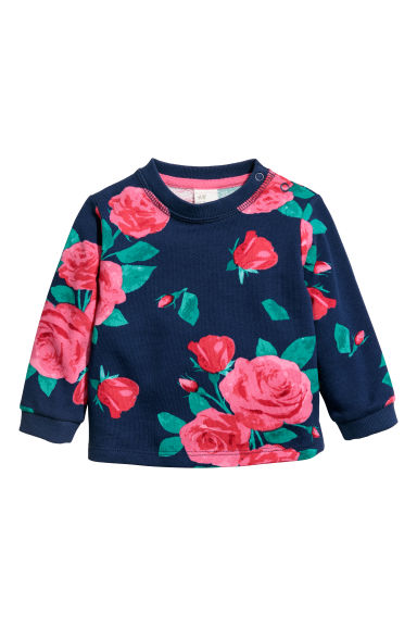 Printed sweatshirt - Dark blue/Flowers -  | H&M CN