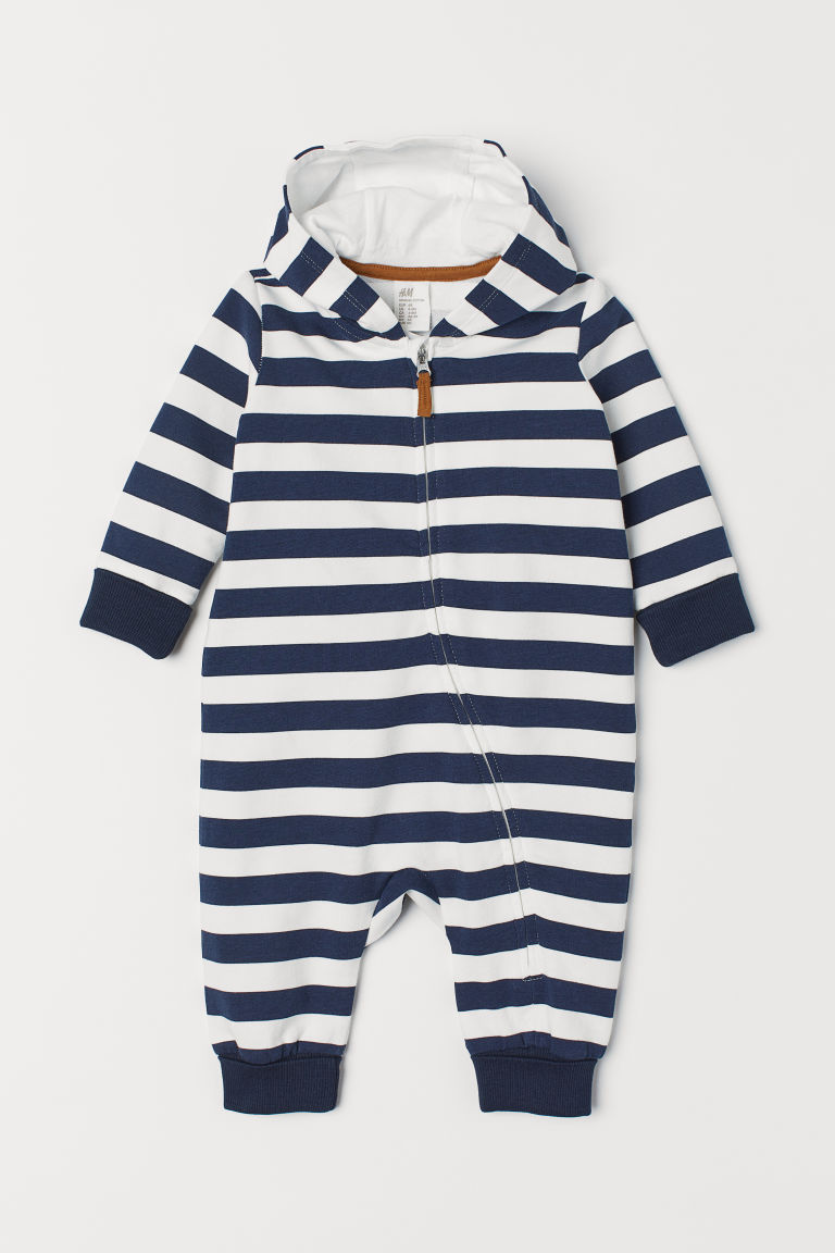 Patterned all-in-one suit - Dark blue/White striped - Kids | H&M CN