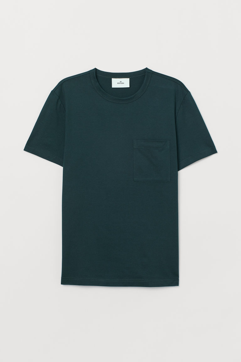 T-shirt with a chest pocket - Dark green - Men | H&M