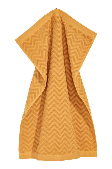 Jacquard-patterned hand towel - Dark yellow - Home All | H&M CN
