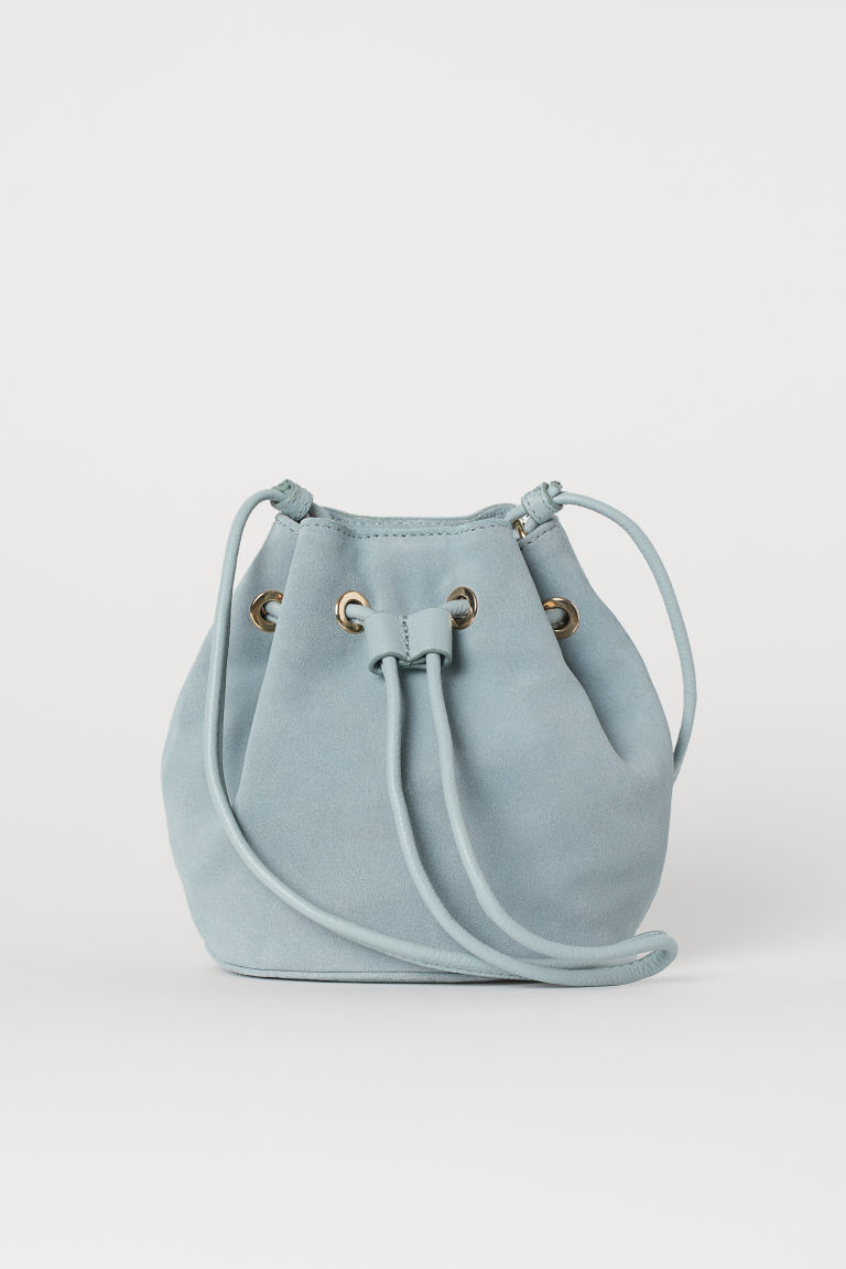 Small suede bucket bag - Dusky green - Ladies | H&M CN