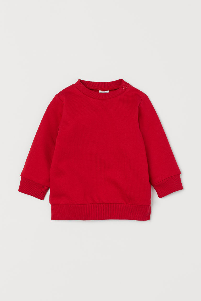 Cotton Sweatshirt - Red -  | H&M US