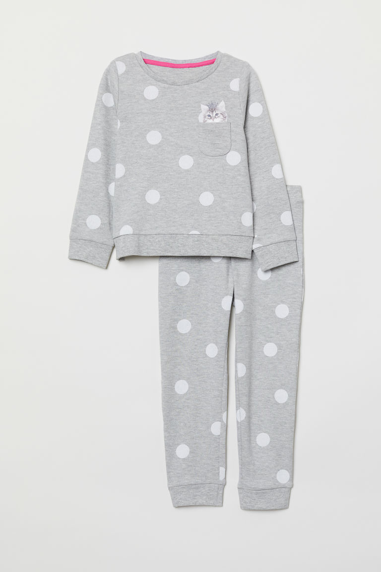 Jersey pyjamas - Grey marl/Cat - Kids | H&M