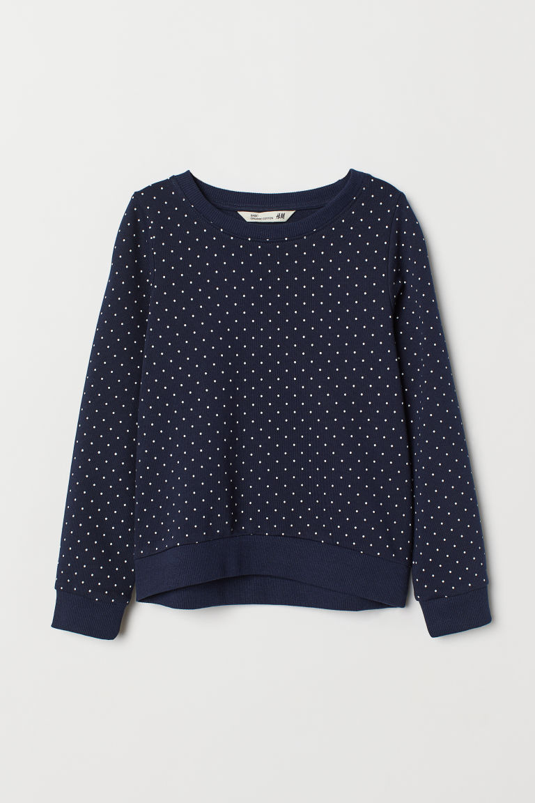 Glitter-print sweatshirt - Dark blue/White spotted - Kids | H&M CN