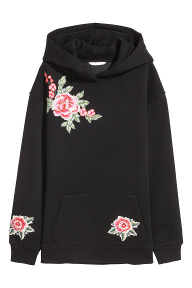 Embroidered hooded top - Black -  | H&M