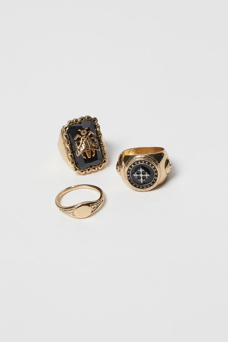 3-pack rings - Gold-coloured/Black - Men | H&M CN