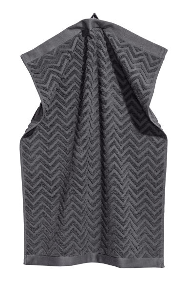 Jacquard-patterned hand towel - Dark grey - Home All | H&M CN