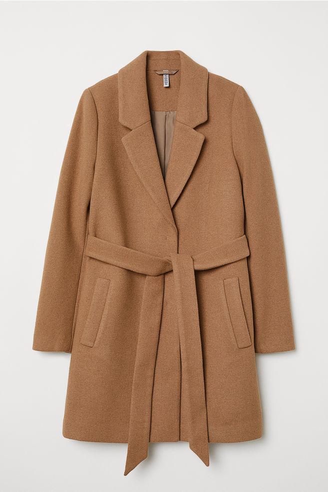 ... Manteau avec ceinture à nouer - Beige foncé - FEMME   H M ... 64dee0051ed