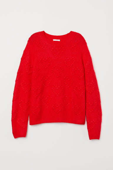 Pattern-knit Sweater - Bright red/hearts - Ladies | H&M US