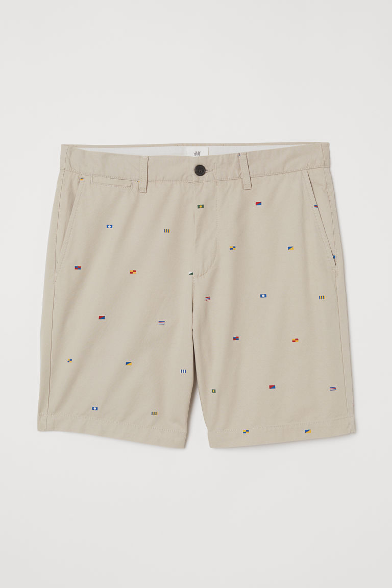 Patterned chino shorts - Beige/Flags -  | H&M GB