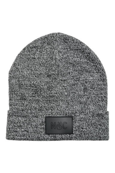 Fine-knit hat - Black marl - Kids | H&M CN