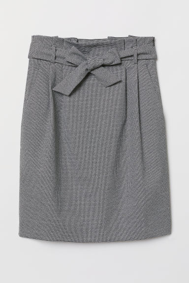 Skirt with tie belt - Black/Dogtooth-patterned - Ladies | H&M