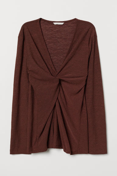Top with Knot Detail - Brown - Ladies | H&M US