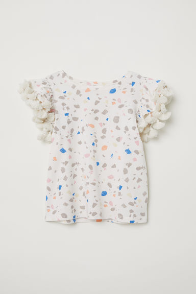 Flounce-sleeved jersey top - Natural white/Patterned - Kids | H&M