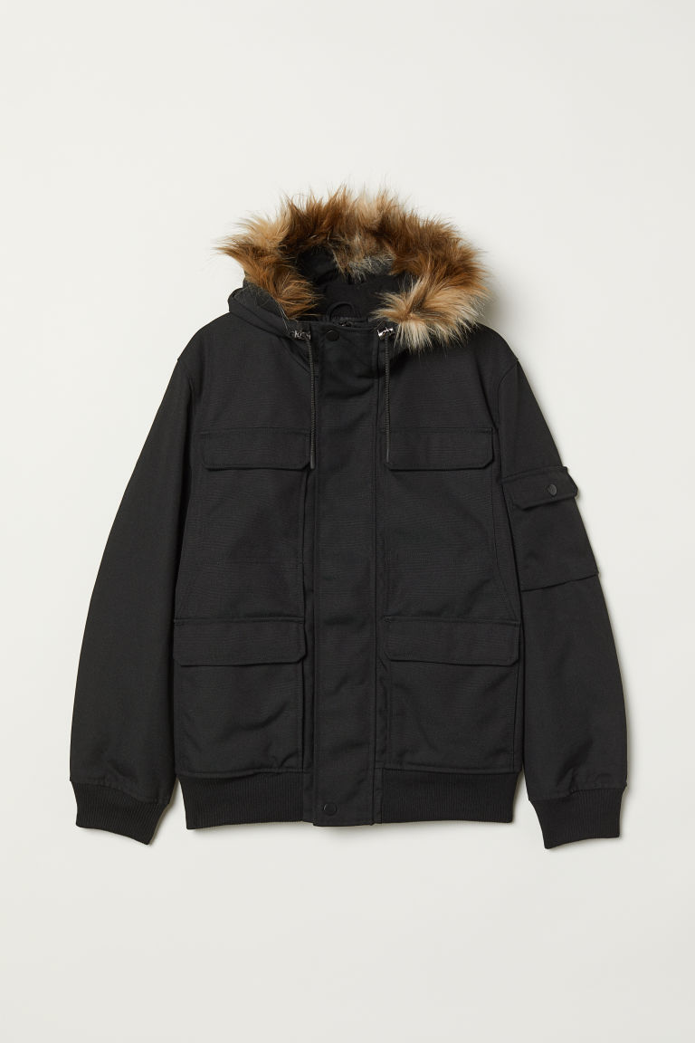 Short hooded jacket - Black - Men | H&M