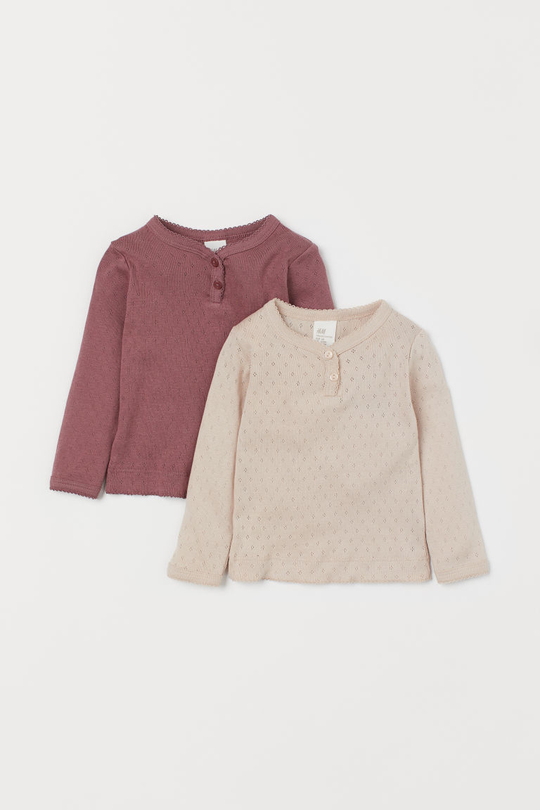2-pack Pointelle Tops - Dk. heather purple/powder pink - Kids | H&M CA