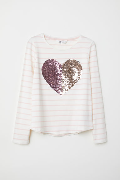Jersey top with sequined motif - Pink striped/Heart - Kids | H&M