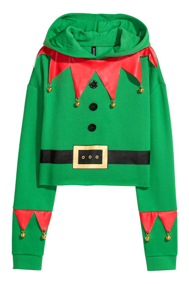 Hooded Christmas top - Green - Ladies | H&M GB