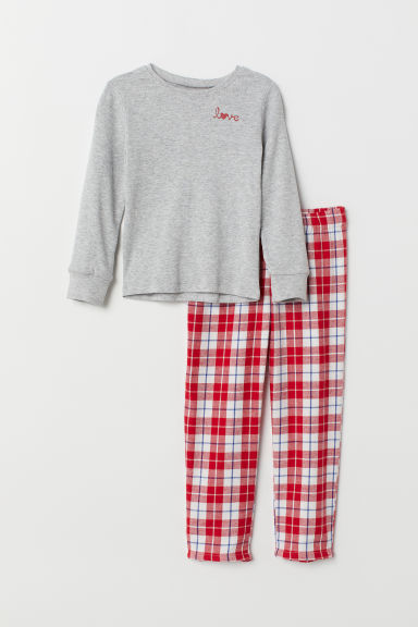 Pyjamas - Grey marl/Checked - Kids | H&M CN